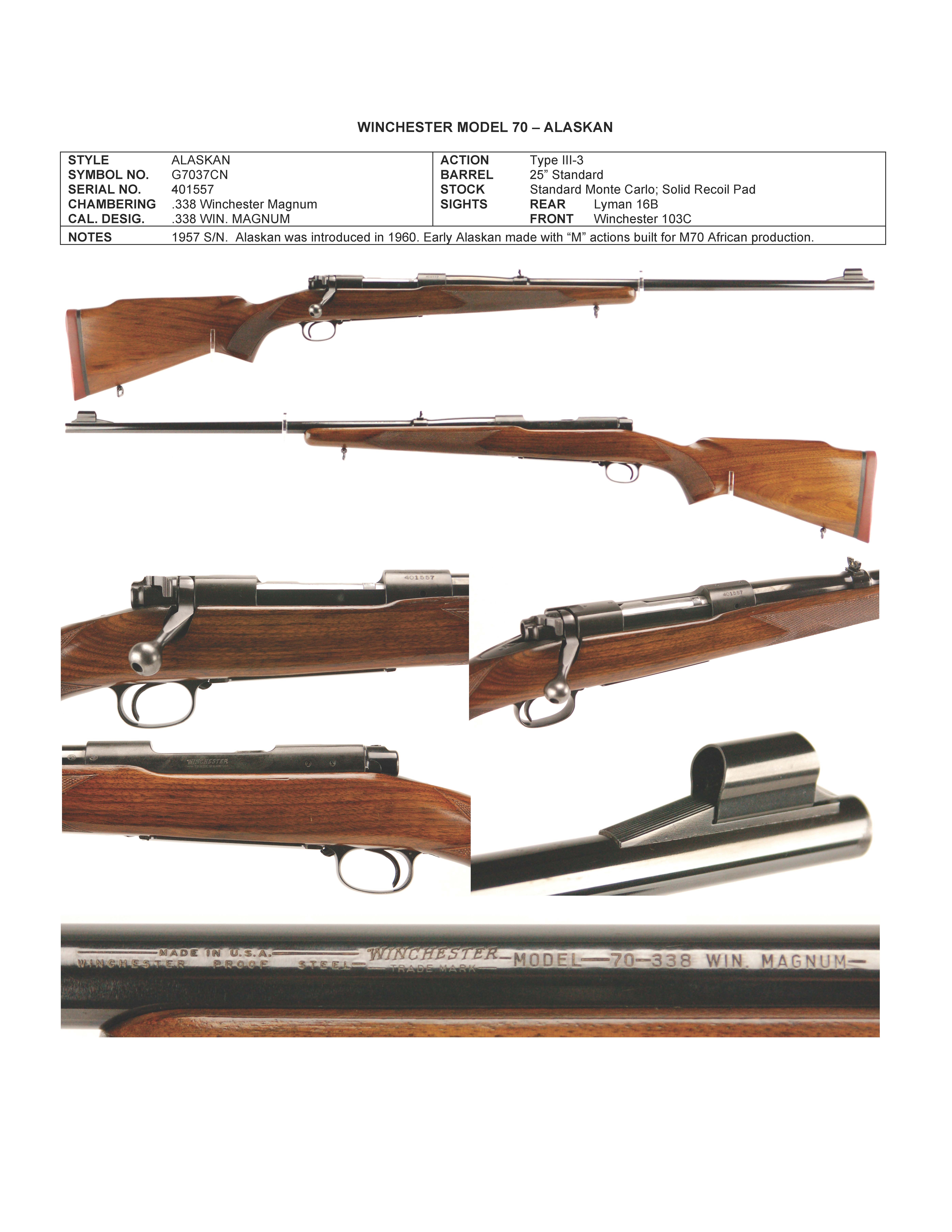 338 Alaskan Wearing Low Comb Stock Winchester Rifles
